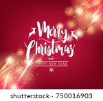 christmas greeting card  merry... | Shutterstock .eps vector #750016903