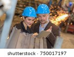 manager giving technical... | Shutterstock . vector #750017197