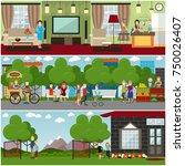 vector set of posters or...   Shutterstock .eps vector #750026407