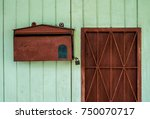 old red post box  vintage wood... | Shutterstock . vector #750070717