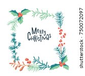 greeting card with christmas... | Shutterstock .eps vector #750072097