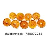 a lot of dried sliced orange | Shutterstock . vector #750072253