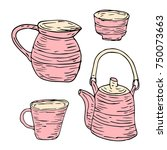 tableware set vector... | Shutterstock .eps vector #750073663