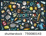 colorful vector hand drawn... | Shutterstock .eps vector #750080143