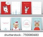 set of cute merry christmas ... | Shutterstock .eps vector #750080683
