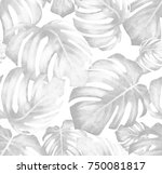 seamless pattern with monstera. ... | Shutterstock . vector #750081817