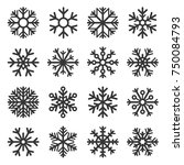 snowflake winter icons set on... | Shutterstock .eps vector #750084793