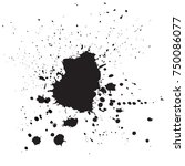 black drops of paint and stains ... | Shutterstock .eps vector #750086077