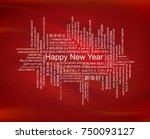 happy new year in different... | Shutterstock .eps vector #750093127