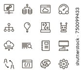 machine learning icon set.... | Shutterstock .eps vector #750099433