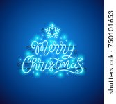 Merry Christmas Blue Neon Sign...