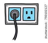 plug and electric socket  ... | Shutterstock .eps vector #750102127