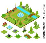 urban park and part set... | Shutterstock . vector #750110713