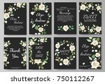 set of card with flower rose ... | Shutterstock .eps vector #750112267