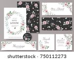 set of card with flower rose ... | Shutterstock .eps vector #750112273