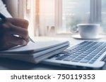 business man planning work... | Shutterstock . vector #750119353