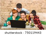group of young hipster best... | Shutterstock . vector #750119443