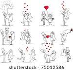 set of wedding pictures  bride... | Shutterstock .eps vector #75012586