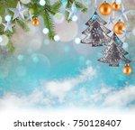 christmas decoration background ... | Shutterstock . vector #750128407