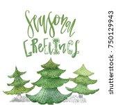 watercolor christmas typography ...   Shutterstock . vector #750129943