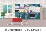 kitchen interior  with table ... | Shutterstock .eps vector #750134257