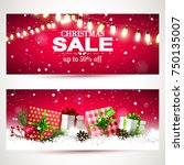 vector set of two christmas... | Shutterstock .eps vector #750135007