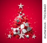 luxury christmas greeting card... | Shutterstock .eps vector #750136663
