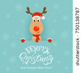 christmas character deer behind ... | Shutterstock .eps vector #750138787