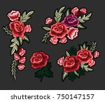 Stock vector flower embroidery patch vintage rose vector illustration 750147157