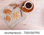 a cup of coffee  cinnamon ... | Shutterstock . vector #750150793