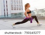 fitness sporty woman with... | Shutterstock . vector #750165277