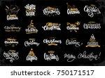 merry christmas lettering... | Shutterstock .eps vector #750171517