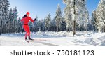 a man cross country skiing in... | Shutterstock . vector #750181123