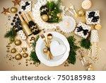 christmas table setting. gold...   Shutterstock . vector #750185983