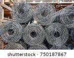 rolls of iron mesh  wire mesh ... | Shutterstock . vector #750187867