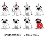 funny drawings of pugs. new... | Shutterstock .eps vector #750194017