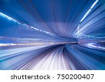 blurred image of subway tunnel... | Shutterstock . vector #750200407