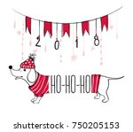christmas illustration with... | Shutterstock .eps vector #750205153
