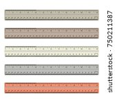 colorful rulers  millimeters ... | Shutterstock .eps vector #750211387
