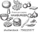 hamburger. creative conceptual... | Shutterstock .eps vector #750225577