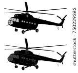 helicopter silhouette   vector | Shutterstock .eps vector #750229363