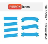 banner ribbon . flat ribbons... | Shutterstock . vector #750229483