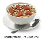 fiber cereal with strawberries   Shutterstock . vector #750235693
