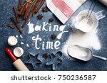 baking time. flour sprinkled on ... | Shutterstock . vector #750236587