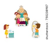 kids washing dishes  cleaning... | Shutterstock .eps vector #750238987