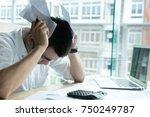 man calculate domestic bills at ... | Shutterstock . vector #750249787
