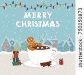 funny cartoon illustration with ... | Shutterstock .eps vector #750250873