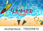 top view of the beach with text ... | Shutterstock .eps vector #750259873