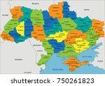 colorful ukraine political map... | Shutterstock .eps vector #750261823