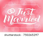 hand drawn just married... | Shutterstock .eps vector #750265297